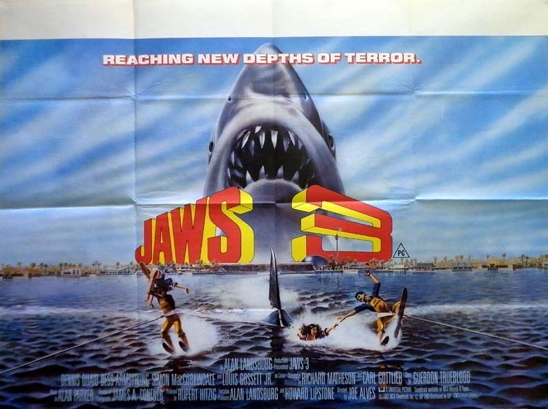 1983 Movie Posters: Jaws 3 Poster, UK Quad, 1983