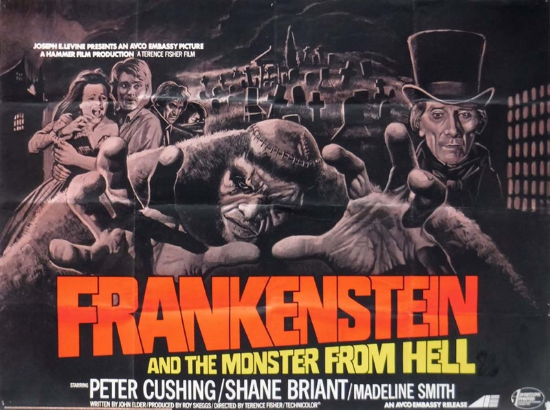 Frankenstein and the Monster From Hell Poster, UK Quad, 1974, Wiggins Bill